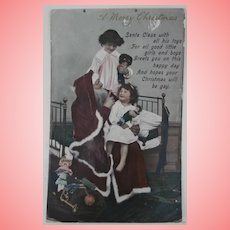 Early Postcard, Santa with Golly , Dolls and Toys A/F