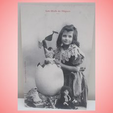 Early French Easter Postcard with French Dolls