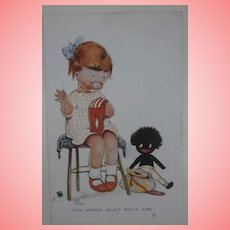 Mabel Lucy Atwell Postcard , Golly, Black Doll, 1930's