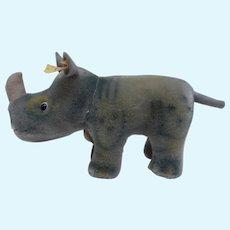 Rare Steiff Nosy Rhinoceros, 1968 to 1974, Steiff Button and Steiff Chest Tag