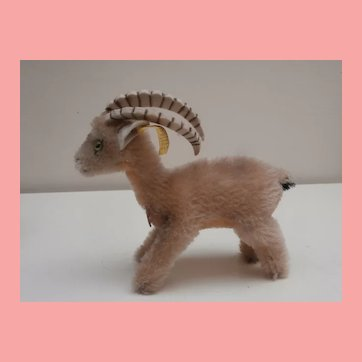 Steiff Rocky Capricorn Goat, 1968 to 1976, Steiff Button and Chest Tag