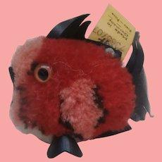 Steiff  Red Woolen Pompom Coral Fish.Steiff Button 1966 to 1977