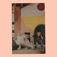 Wonderful Rare Lenci Doll Postcard  , Grumpy Bride and Groom , Steiff Bully Dog, 1943