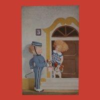 Rare Lenci Doll Postcard, Bellhop, Steiff Bully Dog 1930 / 40.