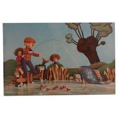 Rare Lenci Dolls Fishing Postcard, 1930's