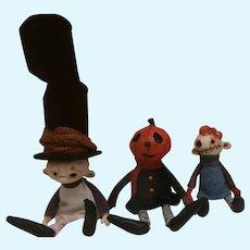 Trio Of Artist  OOAK Halloween Dolls By Linas Four O'Clock Dolls  , Jocelyn, Pumpkin Girl and Jorinde