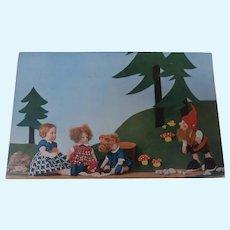 Rare Postcard, Lenci Children and Steiff Dwarf Snick