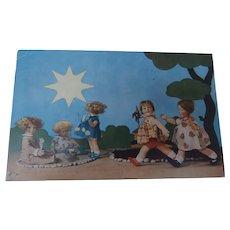 Rare Lenci Postcard, Children Lenci Dolls