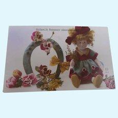 Lovely Early Lenci  Felt Doll Postcard, Good Luck