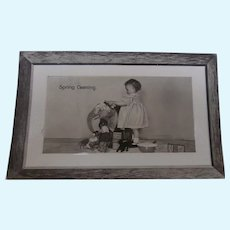 Wonderful Early Postcard. Little Girl Washing Elephant and Lots of Toys Standing By