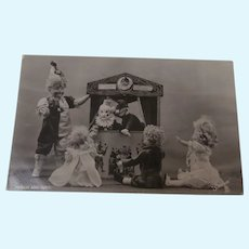 Early Postcard with Dolls and Steiff Dolls' Punch and Judy'
