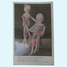 Early Peg Wooden Doll Postcard, Real Dolls 1907