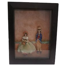 Early 20th Century  Novelty Textile , Diorama Picture, Man and Woman