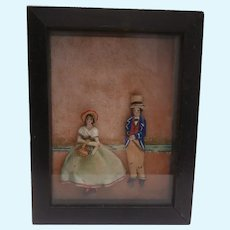 Early 20th Century  Novelty Textile Picture, Man and Woman