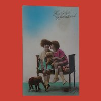 Early French Postcard, Two Girls, Toy Elephant and Dog