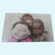 Steiff Max Doll, Jocko Monkey  and Black Cloth Doll Postcard 1924