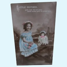Girl and her Doll  Early Postcard