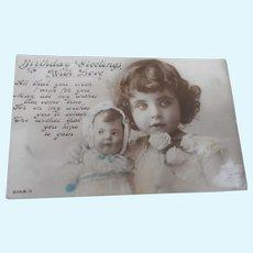 Vintage Postcard, Girl with Kathe Kruse Doll