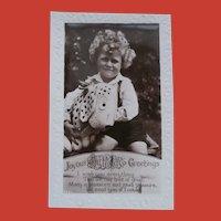 Real Photo Postcard, Boy with Dismal Desmond Dog 1930/40