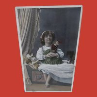 Early Postcard  1913, Rare Steiff Krinoline Coffee Cosy,Doll, Teddy Bear and Dog