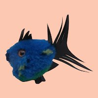 Steiff Blue Pompom Wool Coral  Fish 1968 to 1977, No Id's