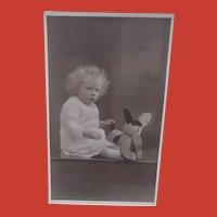 Vintage Postcard, Grumpy Girl with Googly Eye Dog