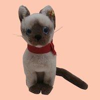 Lovely Steiff Siamese Cat.  Cattie, 1980 to 1983 ,Steiff Button