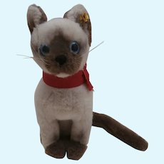 Lovely Steiff Siamese Cat.  Cattie, 1980 to 1983 ,Steiff Button