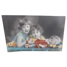 Postcard Girls with their Lenci Type Cloth Doll. 1940