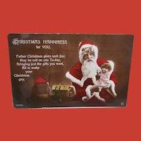 Santa Claus Christmas Postcard with Doll