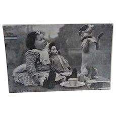 Early French Postcard, Jumeau Doll, Dog