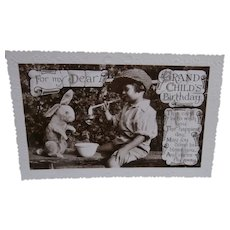 Sweet  English Postcard Boy with Wilfred Rabbit, 1933