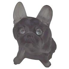 Vintage Larger Glass Bulldog, Dog, Diamante Eyes