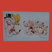 Bonzo Dog Family with Black Cloth Doll , White Doll Postcard  1928