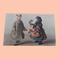 Interesting Postcard 'Oilette', Raphael & Tuck, Cloth Doll Man and Bisque Doll 1924