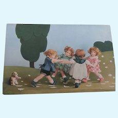 Rare Lenci Postcard , Lenci Children and Steiff Molly Dog, 1931