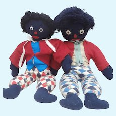 Well Loved Black  Vintage, Cloth Rag Dolls