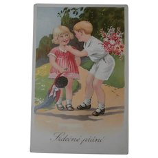 Vintage Postcard, Boy and Girl with Black Cloth Doll