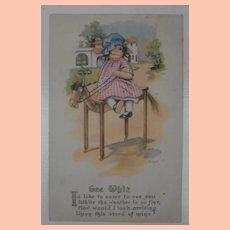 Early Raggedy Ann Doll Type Postcard 1916