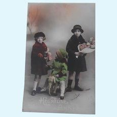 Early Postcard , Children, Steiff Elephant