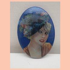 Vintage Lea Stein Type Brooch, 1940's Lady in Hat