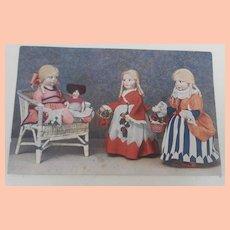 Rare Italian Lena Felt  Dolls Postcard 1930.s