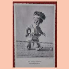 Lenci Type Cloth Doll Postcard 1930's