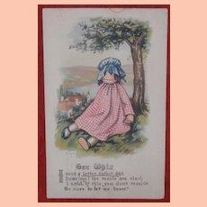 Early Postcard , Raggedy Ann Type Doll 1916