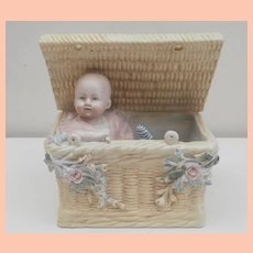 Interesting  Early China Baby in Basket Ornament , Flower Planter, Doll
