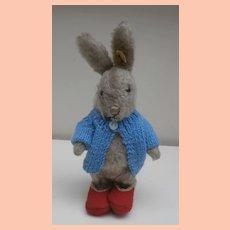 Darling Well Loved Steiff Niki Rabbit, Steiff Button