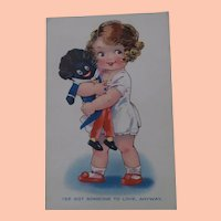 Cute Early Postcard, Girl with her Back Cloth Doll