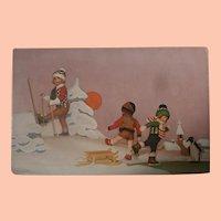 Rare Lenci  Cloth Doll  and Steiff Penguin Postcard
