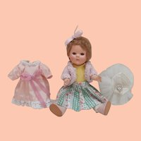 Sweet Sally  Vintage Little Hard Plastic English Doll with Extra Clothes