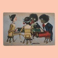 Wonderful 1908Postcard Peg Wood Dolls and Black Cloth Dolls  PLaying Cards